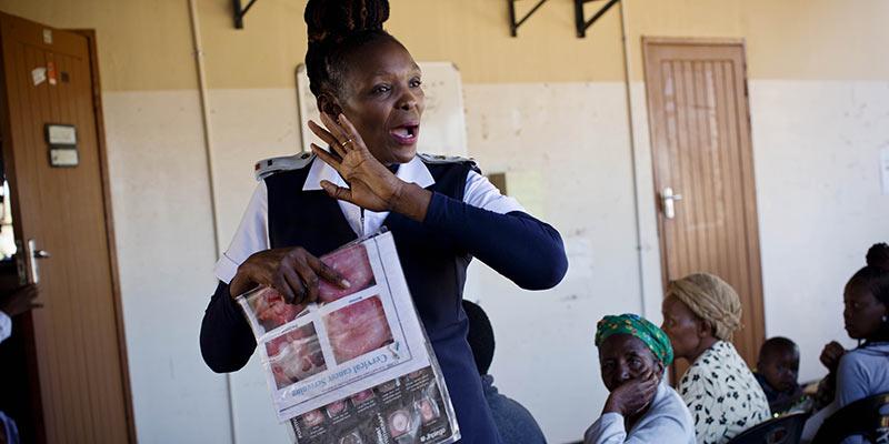 Nurse giving a talk in Botswana