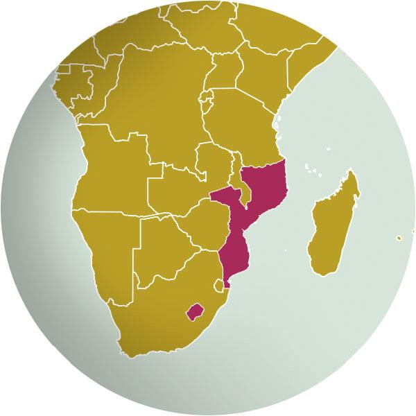 Lesotho and Mozabique
