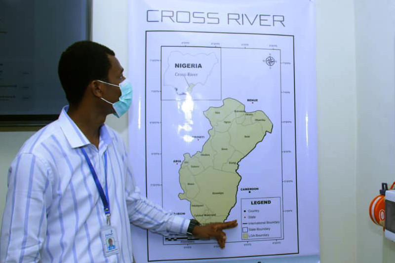 Health worker with map